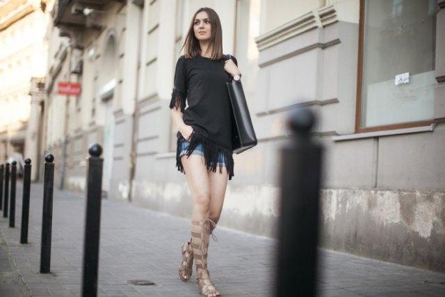 denim shorts black flap dress