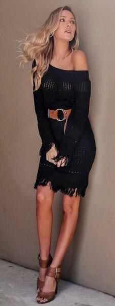 a shoulder flap dress wide brown leather belt