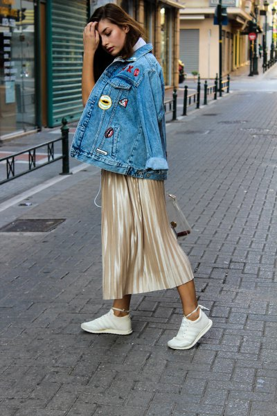 pink gold metallic skirt denim jacket