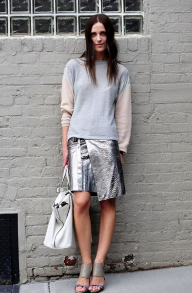 white and blue long sleeve sweater metallic wrap skirt