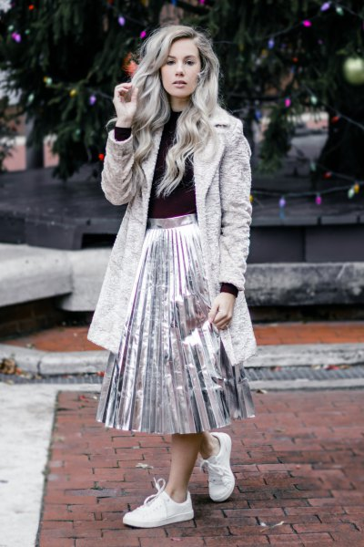 gray teddy rock silver metallic pleated skirt