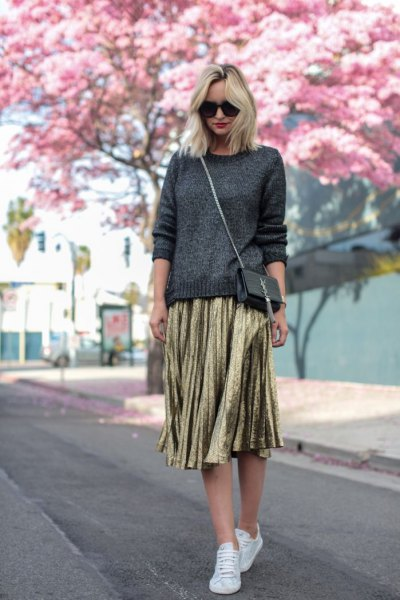 dark gray knitted sweater gold-pleated midi skirt