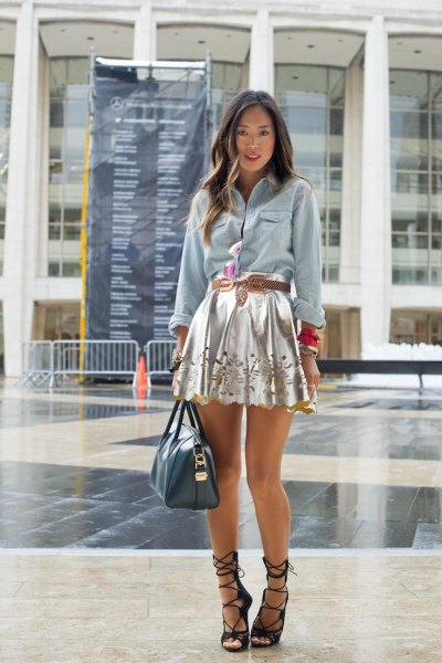 silver mini dress denim shirt