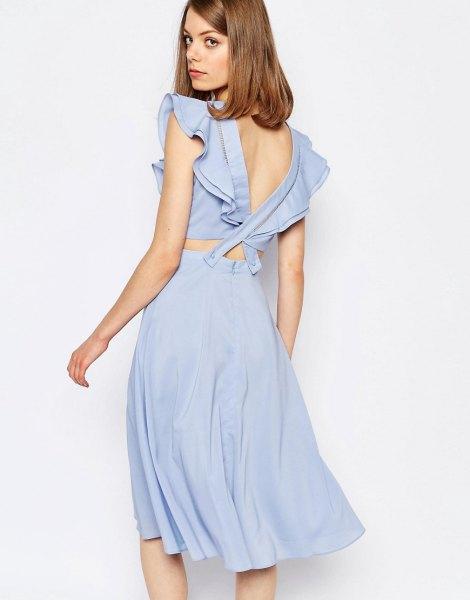 blue ruffle sleeve low back two-piece dress