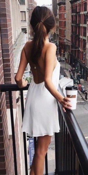 white halter low back mini dress