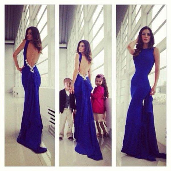 royal blue bodycon flare maxi dress