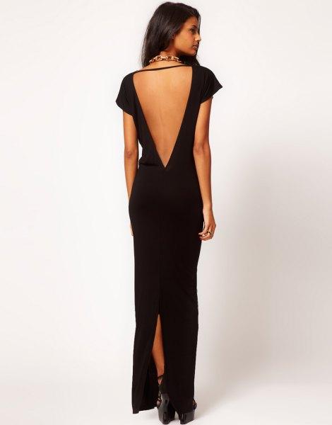 black low back high split maxi dress