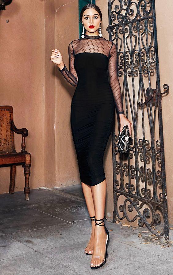 black mesh dress elegant