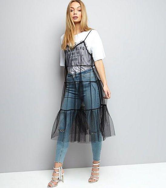 black mesh dress layer