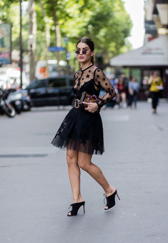black mesh dress stars