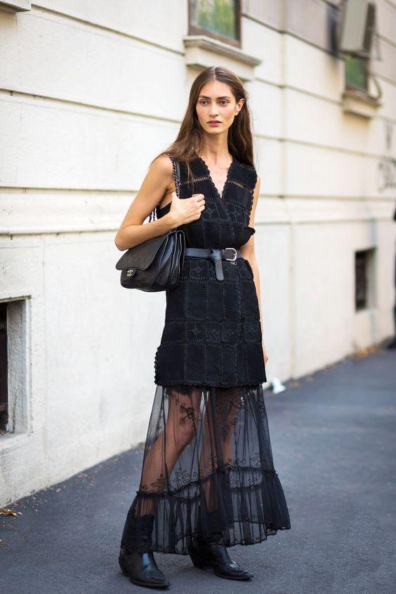 black mesh dress tailor made