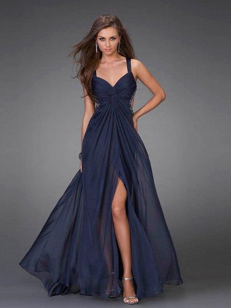 dark blue sweetheart neckline high split flare maxi dress
