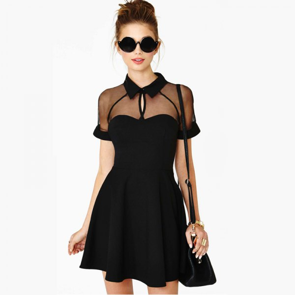 black clean collar skater dress