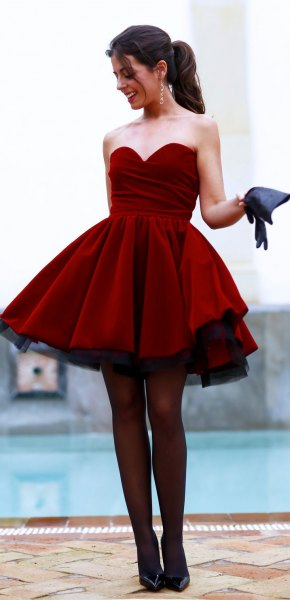 burgundy sweetheart neckline fit and flare mini dress