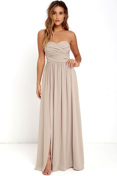 light pink sweetheart pleated maxi dress