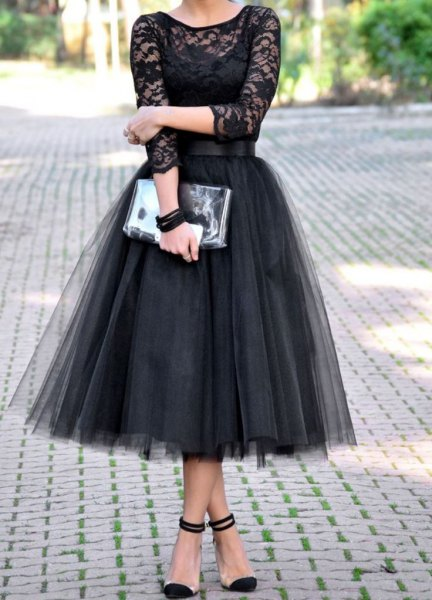two toned black tulle dress semi sheer lace top