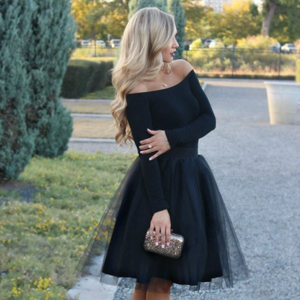 black off shoulder tulle dress silver bag