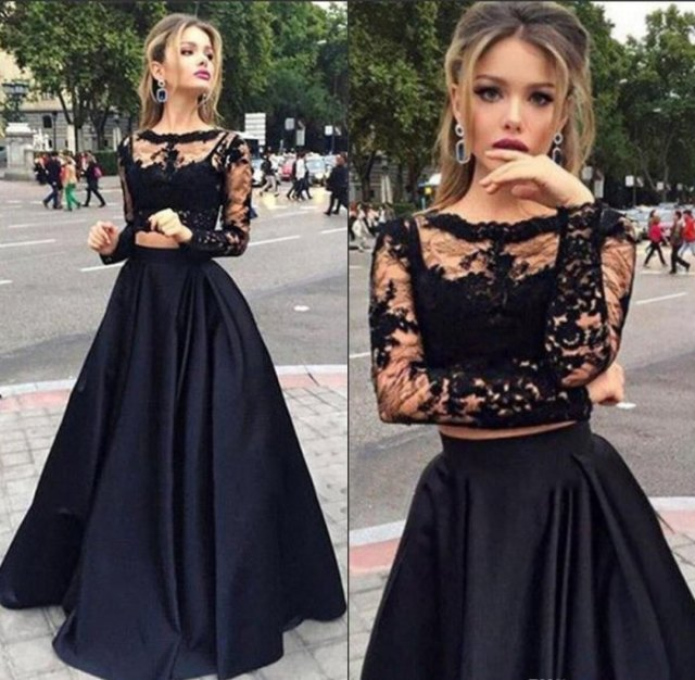 two-piece lace and satin maxi tulle dress