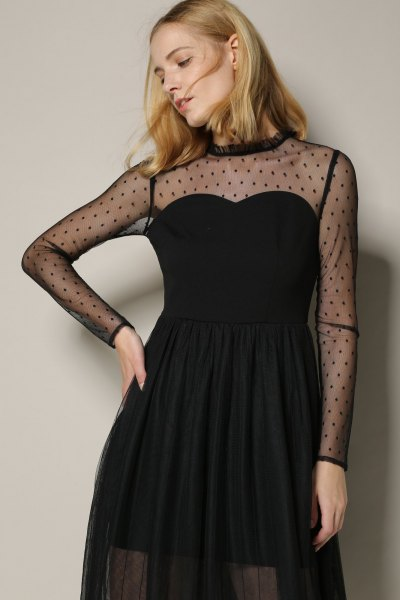 black strapless tulle dress mesh overlay