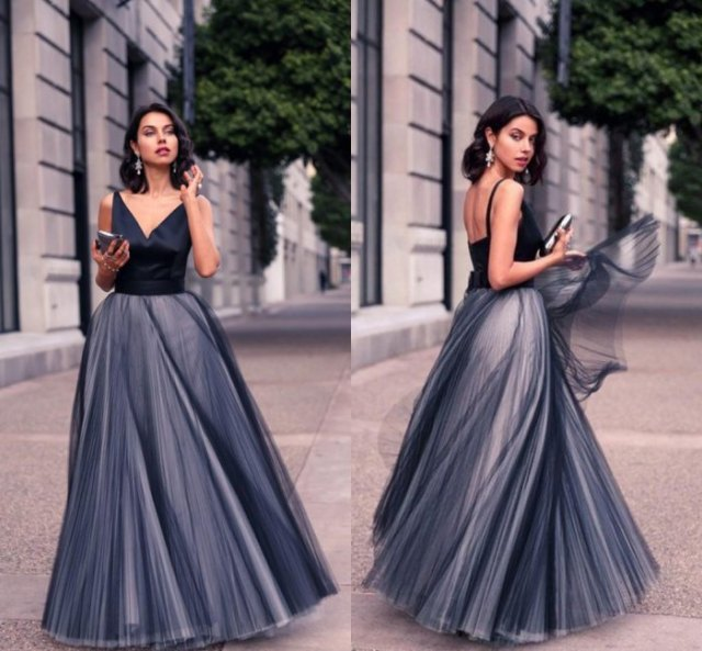 black and gray two toned maxi tulle dress