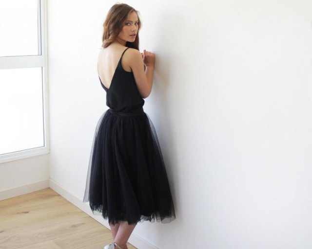 black low back midi tulle dress