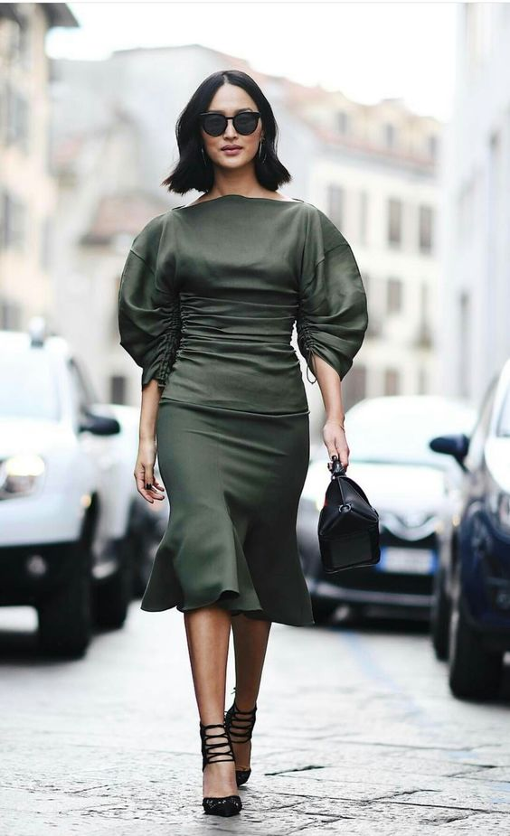 olive dress puff sleeves