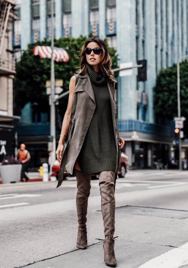 knitted olive dress