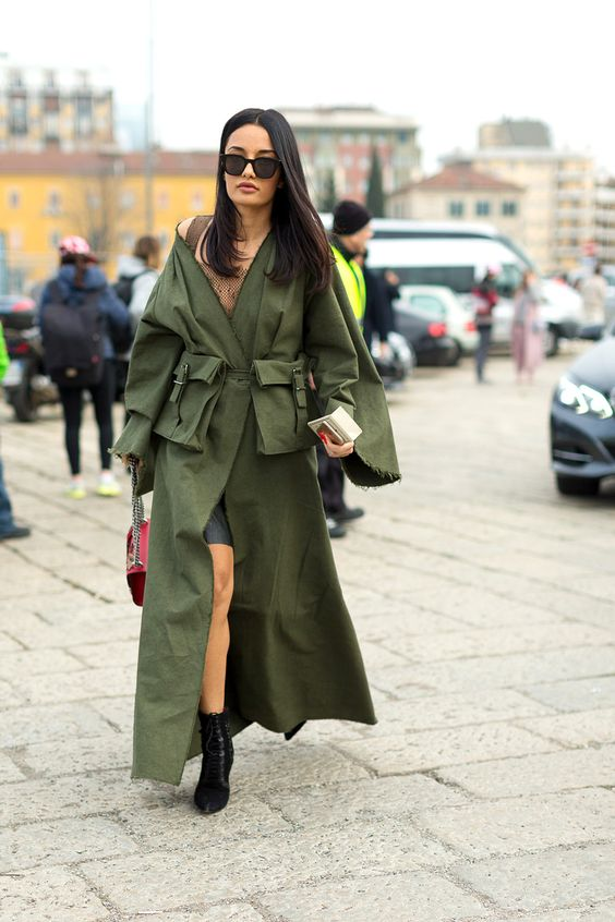 olive dress trench coat