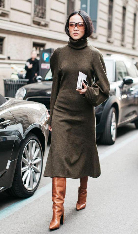 olive green dress in wool knit