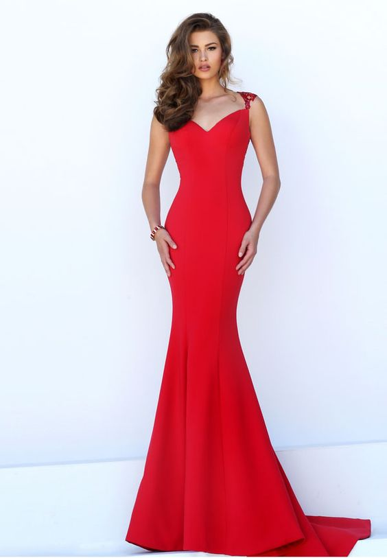 red mermaid dress lace band