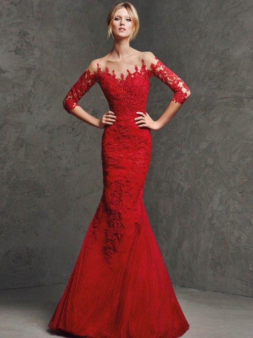 red mermaid dress lace