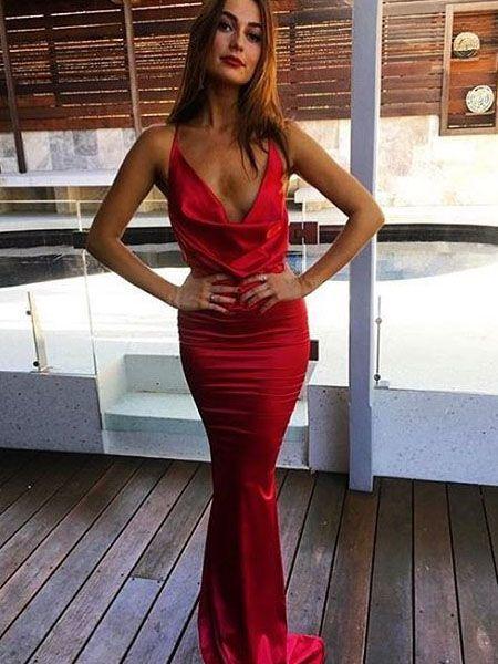 red mermaid dress cowl neck
