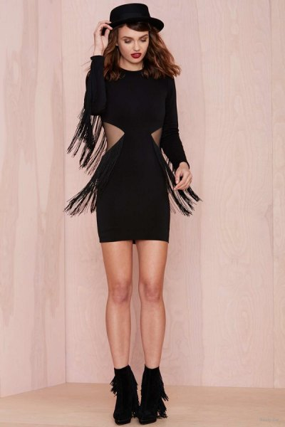 black cutout fringe dress black felt hat