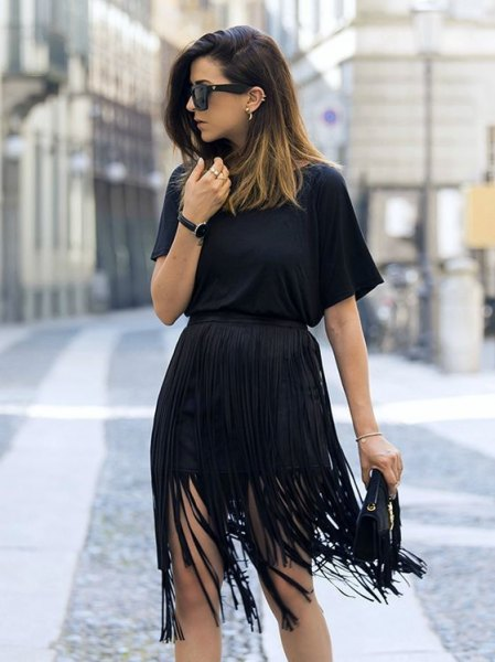 black overall waist dress at the waist