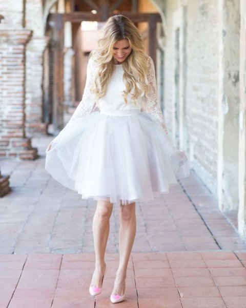 Long sleeve band with lace and dress with chiffon band