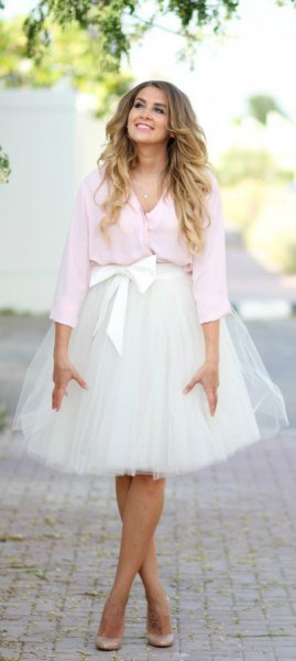 white blouse tied chiffon tulle skirt
