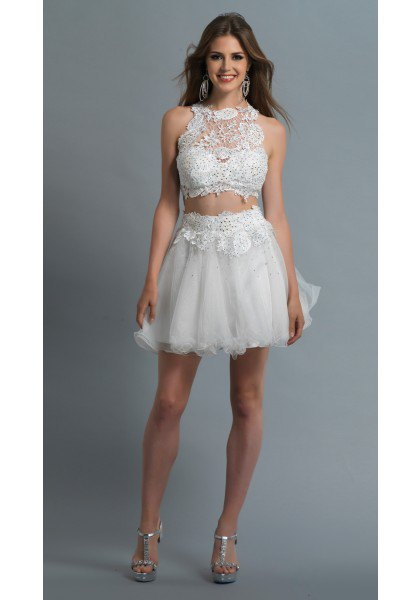 white two-piece tulle dress lace halter top