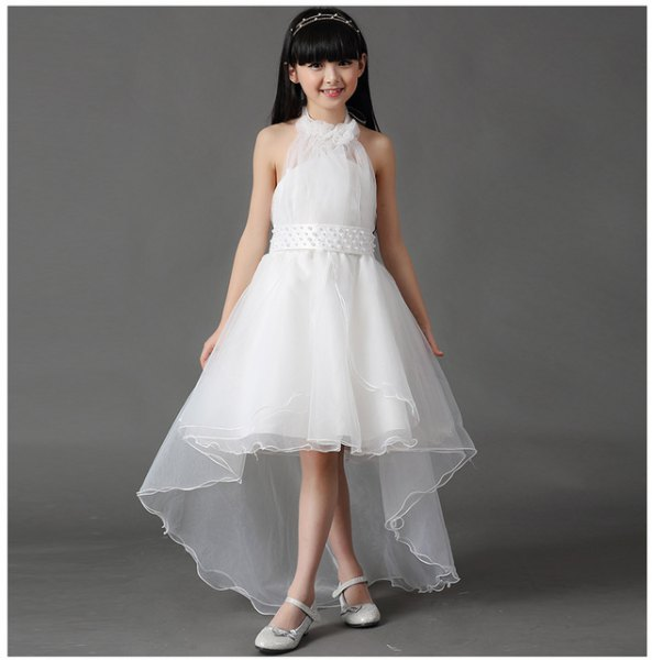 high low tulle white dress flower girl