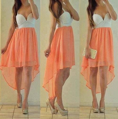 white and peach deep v-neck chiffon dress