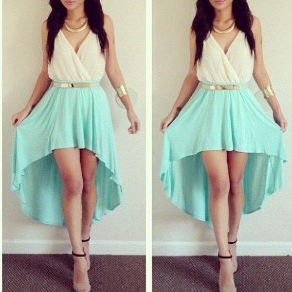 belt white and aqua wrap dress