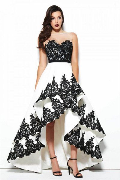 black and white strapless backless dress