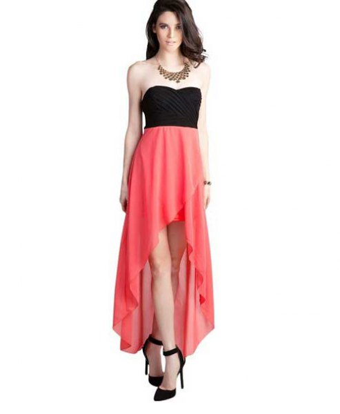 black and pink strapless high low dress