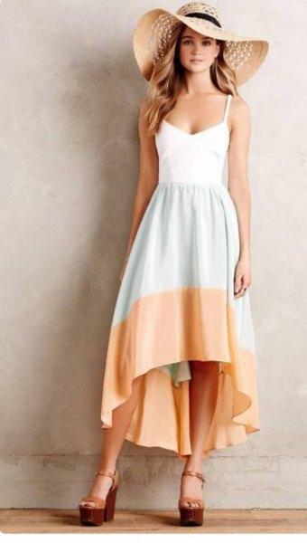 white gray peach color block dress