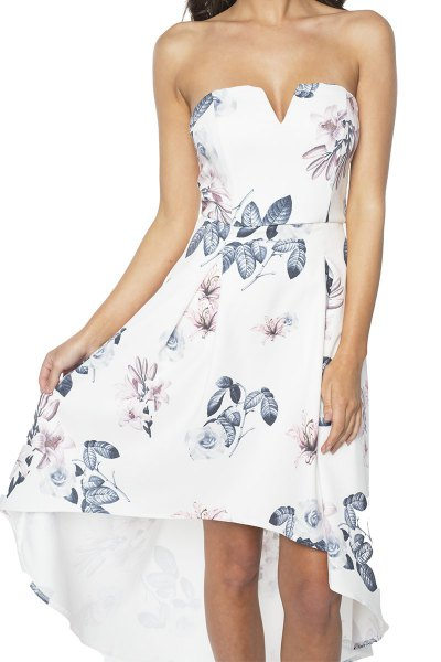 white floral strapless high low dress