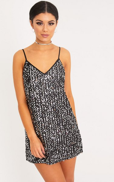black and silver abrasive dress with choker