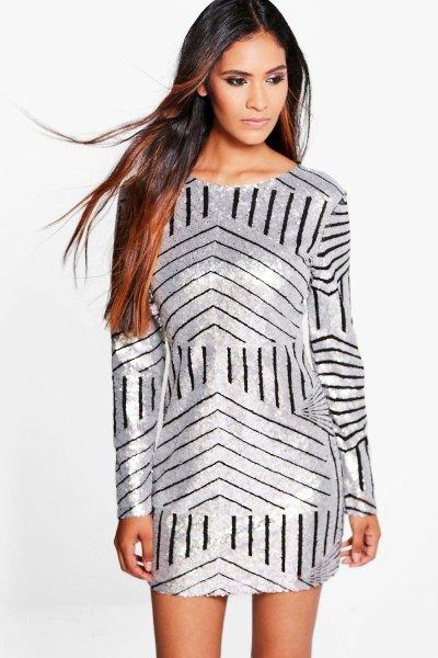 silver random dress black random stripes