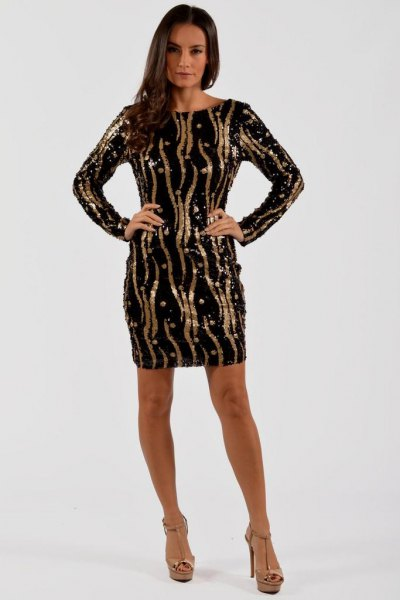 black sequin robe dress gold random stripes