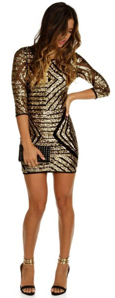 half sleeve gold and black sequin bodycon dress