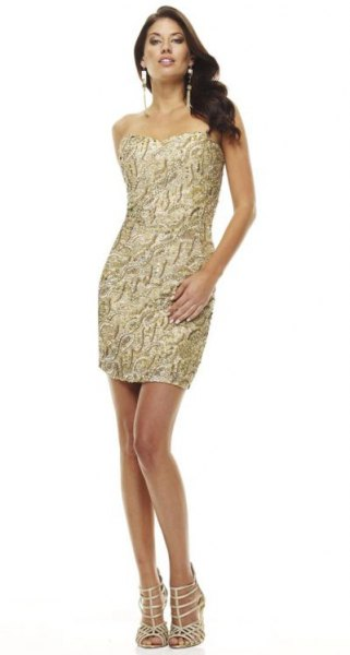 gold bodycon mini dress subtly black pattern