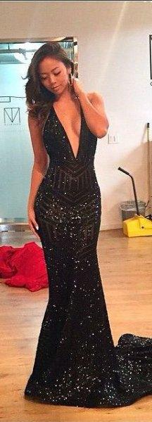 black deep v-neck sequin mermaid dress